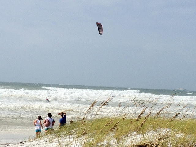 Kite surfing in the storm